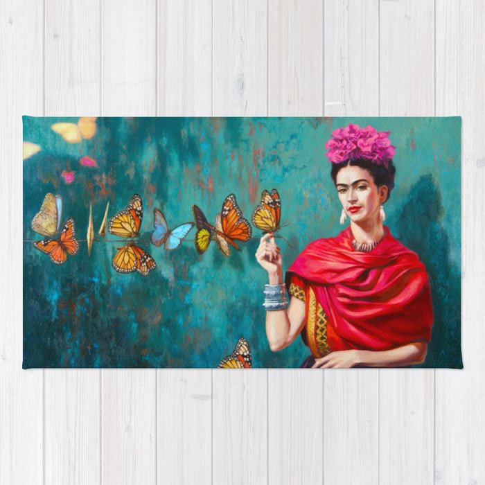 Frida Kahlo self-portrait butterflies pink flowers grunge Rug