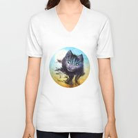 cheshire cat V-neck T-shirts featuring Cheshire Cat by Diogo Verissimo