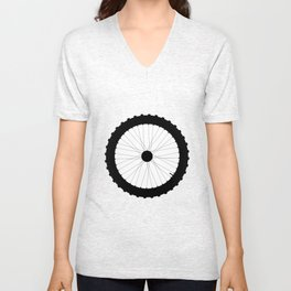 Bicycle Wheel Silhouette Unisex V-Neck