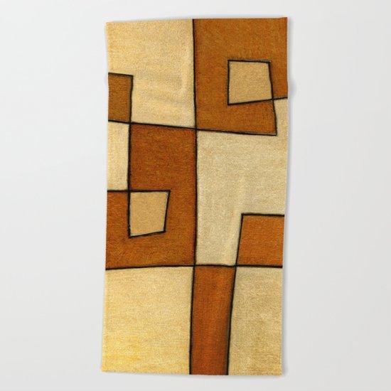 Protoglifo 01 'brown yell' Beach Towel