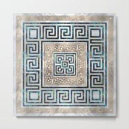 Greek Key Ornament - Greek Meander -Abalone and gold Metal Print