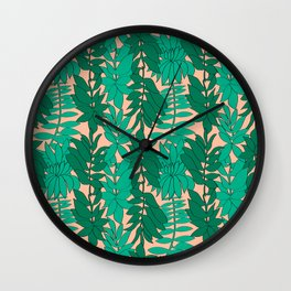 60's Chinoiserie Vines in Peach Wall Clock