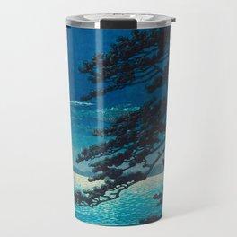 Vintage Japanese Woodblock Print Moonlight Over Ocean Japanese Landscape Tall Tree Silhouette Travel Mug