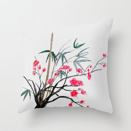 bamboo and red plum flowers Throw Pillow