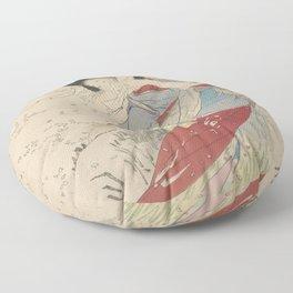 Japanese Meiji Period Print - Cherry Blossom Flurry Floor Pillow