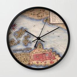 Map Of San Juan 1770 Wall Clock