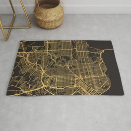 SAN FRANCISCO CALIFORNIA GOLD ON BLACK CITY MAP Rug