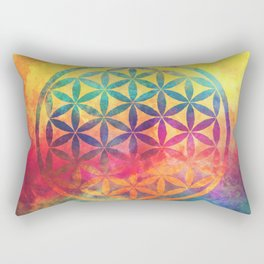 Rainbow Flower Of Life Rectangular Pillow