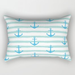Anchor & Stripes Pattern - Mint / Blue Rectangular Pillow