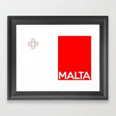Malta country flag name text Framed Art Print