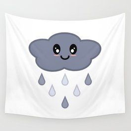 Kawaii Cute Happy Stormy Rain Cloud Wall Tapestry