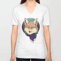 jon snow V-neck T-shirts featuring Fox by Laura Graves