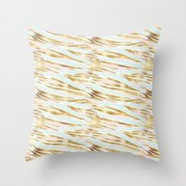 Mint & Gold - net Throw Pillow