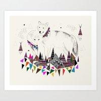 kris tate Art Prints featuring TENDER MOUNTAIN  |  by Kristy Lynn + Kris Tate by Kristy Lynn