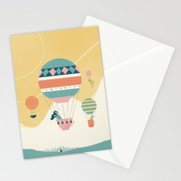 Travel in a Coffee Hot Air Balloon Stationery Cards