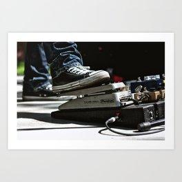 Chuck Taylors and a Volume Pedal on a Pedal Board Art Print