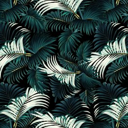 Floor Pillow - TROPICAL JUNGLE - Night - Burcu Korkmazyurek