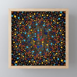Hamsa Hand - Hand of Fatima colorful dot art Framed Mini Art Print