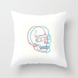 3D Skull Illustration - 3D Skull Print - Three Dimensional Skull Illustration - Skull Drawing Throw Pillow