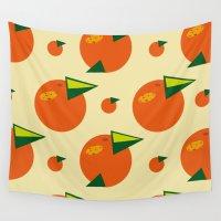 orange pattern Wall Tapestries featuring orange pattern by Avrora-slip