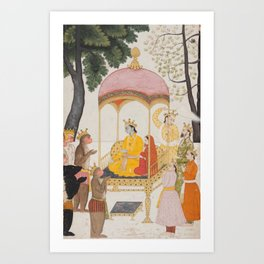 Enthroned Rama and Sita Receive Homage from their Monkey and Bear Allies 18th Century Classical Hindu Art Art Print