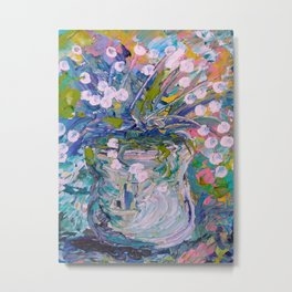 White Flower Abstract Metal Print