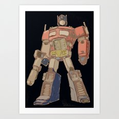 Optimus Black Art Print