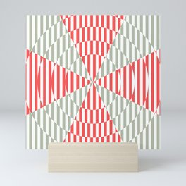 Crossing the lines - the red and gray optical illusion Mini Art Print