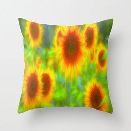 Sunflower Pastel Art Throw Pillow
