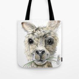 Alpaca eating Daisies Tote Bag