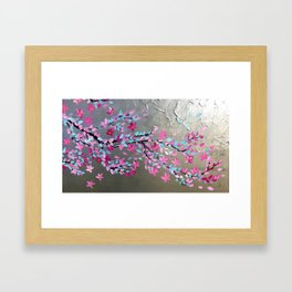 Japanese Cherry Blossom Branch with Pink Blossoms Framed Art Print