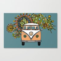 vw bus Canvas Prints featuring VW bus by Woosah