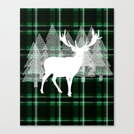 Green Plaid with Deer: Holiday Print Canvas Print