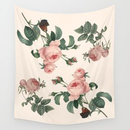Rose Garden Butterfly Pink Wall Tapestry