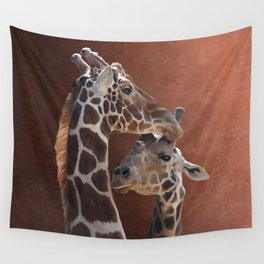 Endearing Giraffes Wall Tapestry