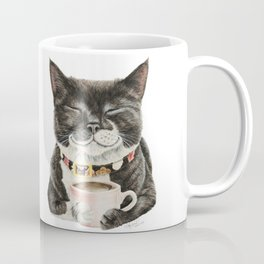 Purrfect Morning , cat with her coffee cup Coffee Mug