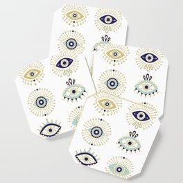 Evil Eye Collection on White Coaster