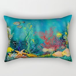 Undersea Art With Coral Rectangular Pillow