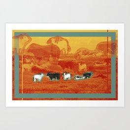 cattle field Art Print