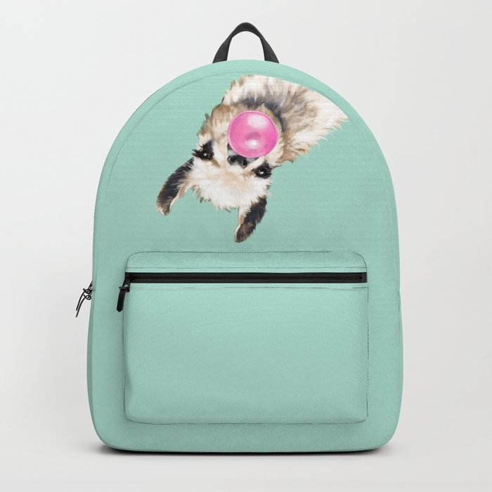 Bubble Gum Sneaky Llama in Green Backpack