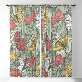 Tulips and Butterflies Sheer Curtain