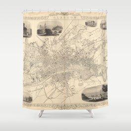 Vintage Map of Glasgow Scotland (1851) Shower Curtain