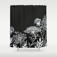 alisa burke Shower Curtains featuring queen anne's lace by Alisa Burke