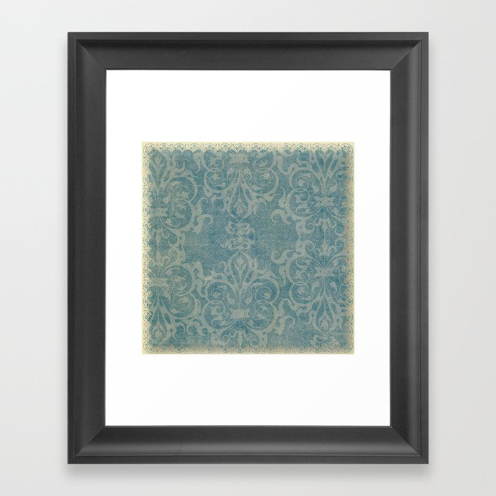 Antique rustic teal damask fabric Gerahmter Kunstdruck