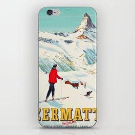 Zermatt, Switzerland Vintage Ski Travel Poster iPhone Skin