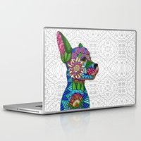 folk Laptop & iPad Skins featuring Folk Art Puppy by ArtLovePassion