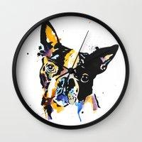 boston terrier Wall Clocks featuring boston terrier by Smolder Design