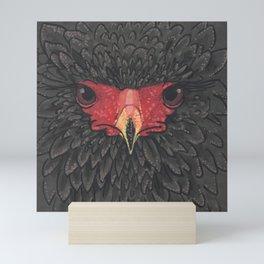 Bateleur Eagle African Bird Portrait Paper Collage Sketch Mini Art Print