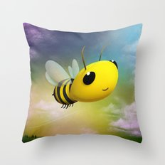 Bee Flying On Colour Sky Throw Pillow