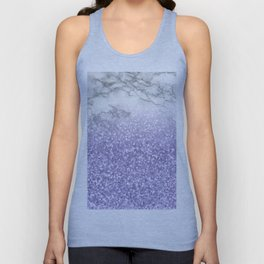She Sparkles - Violet Purple Glitter Marble Unisex Tank Top